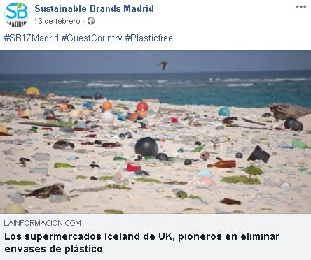 Publicación en Facebook de Sustainable Brands Madrid