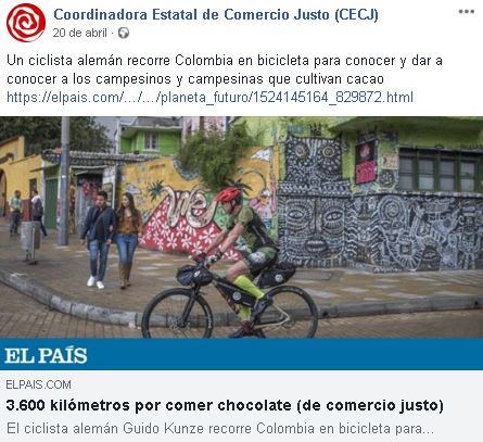 Publicación en Facebook de la COordinadora Estatal de Comercio Justo