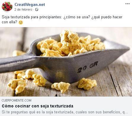 Publicación de Creativegan en Facebook