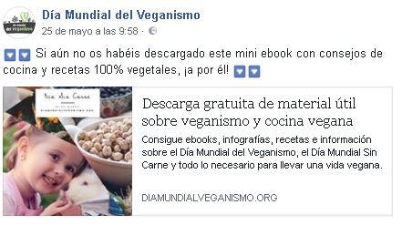 Publicación Día del Veganismo en Facebook