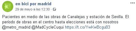 Publicación en Facebook de En bici por Madrid