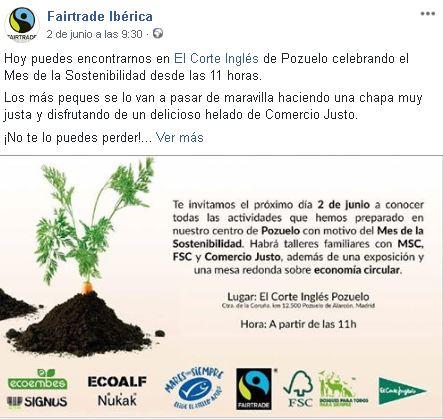 Publicación en Facebook de Fairtrade Ibérica